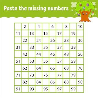 Collez les nombres manquants pratique de l'écriture manuscrite. apprentissage des nombres pour les enfants.