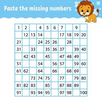 Collez les nombres manquants. pratique de l'écriture manuscrite. numéros d'apprentissage pour les enfants.