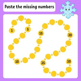 Collez les nombres manquants. pratique de l'écriture.