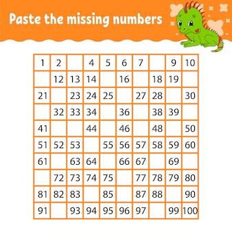 Collez les nombres manquants.