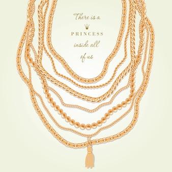 Collier abstrait de chaînes d'or
