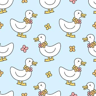 Collier mignon de canard et de fleurs seamless pattern