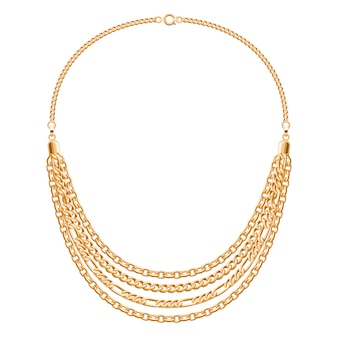 Collier de nombreuses chaînes métalliques dorées. accessoire de mode personnel.