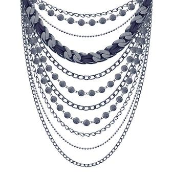 Collier de nombreuses chaînes métalliques noires. accessoire de mode personnel.
