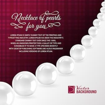 Collier de perles sur le rouge.
