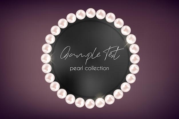 Collier de perles de vecteur sur fond sombre accessoire de luxe brillant cadre de chaîne réaliste