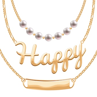 Colliers chaîne dorés sertis de pendentifs - perles mot heureux et jeton vierge. bijoux .