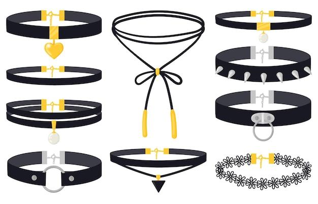 Colliers ras du cou d'accessoires de bijoux de mode pour femmes de bande dessinée. colliers de bijoux pour femmes modernes, ensemble d'illustrations vectorielles de pendentifs tour de cou en argent et or. colliers ras du cou