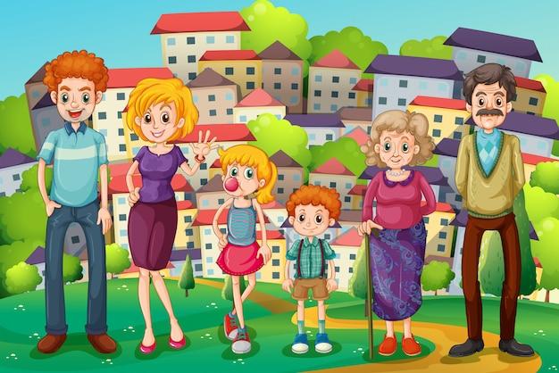 Une colline avec une grande famille
