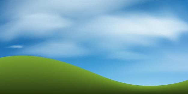 Colline d'herbe verte ou montagne avec ciel bleu. parc abstrait et extérieur pour l'idée d'aménagement paysager. illustration vectorielle.