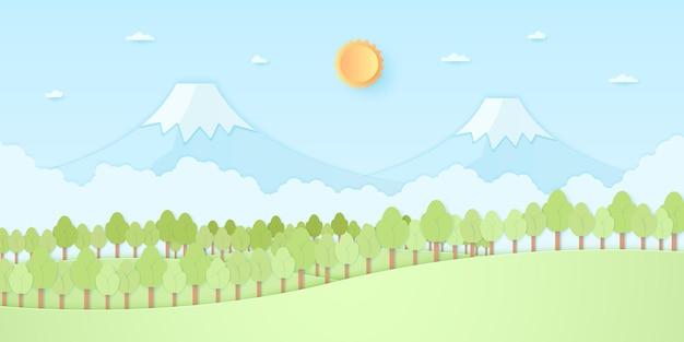 Colline naturelle, montagne, arbres avec soleil et ciel bleu, style art papier