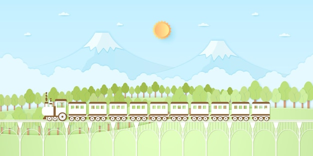 Colline naturelle, montagne, arbres avec soleil et ciel bleu, transport, train, style art papier