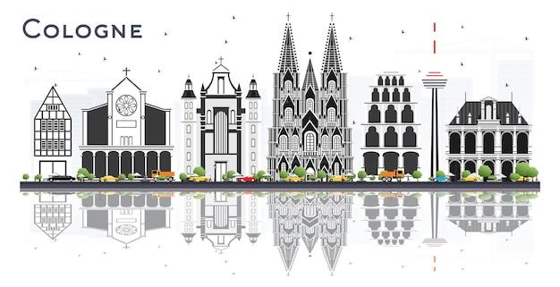 Cologne, allemagne, horizon ville, à, gris, bâtiments, et, reflets, isolé, blanc