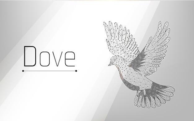 Une colombe bat des ailes ou vole un pigeon est un symbole de paix des rayons de lumière tombent sur lui