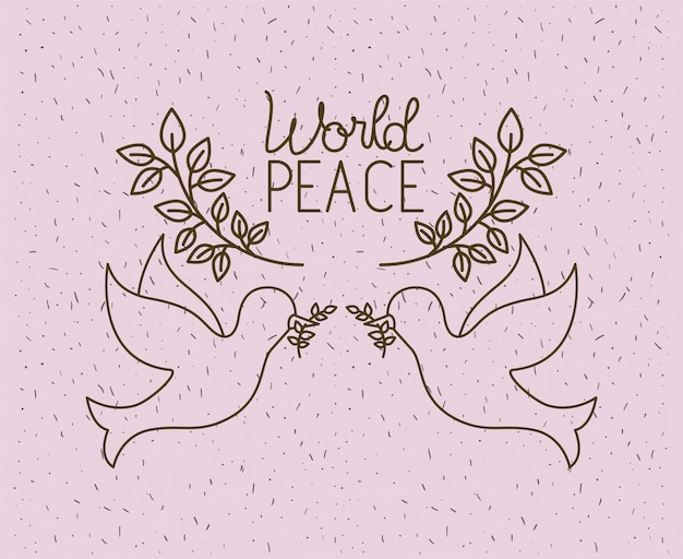 Colombes volant avec la paix mondiale guirlande