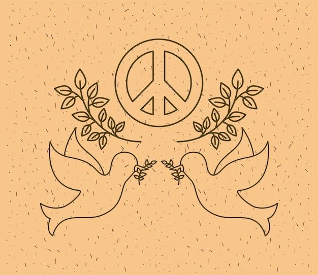 Colombes volant avec le symbole de la paix dans le monde
