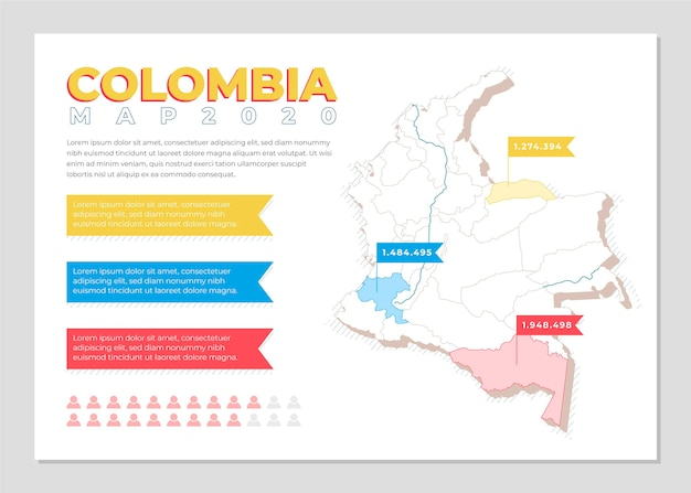 Colombie carte infographique au design plat