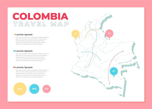 Colombie carte infographique au design plat