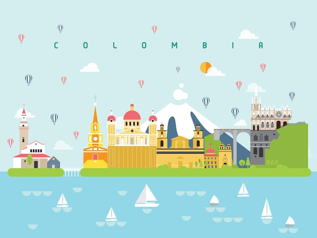 Colombie célèbres monuments infographiques