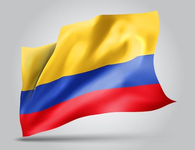 Colombie, drapeau vectoriel avec des vagues et des virages ondulant dans le vent sur fond blanc.