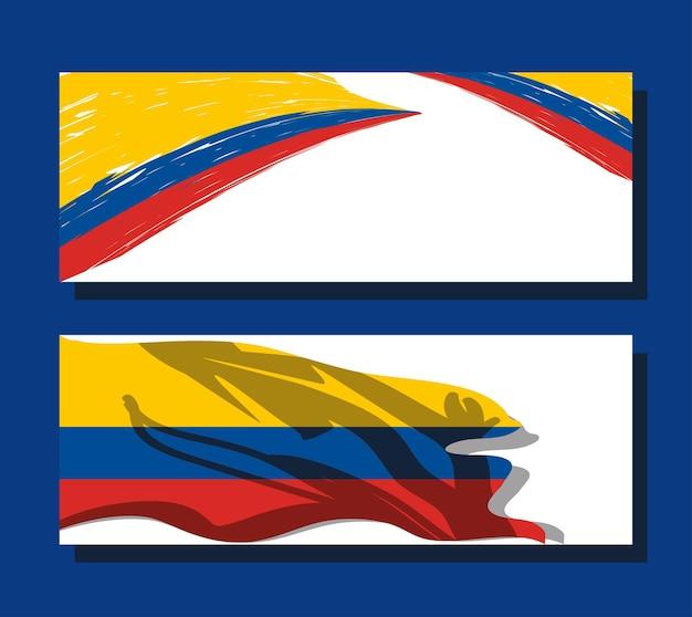 La colombie marque des bannières nationales de patriotisme
