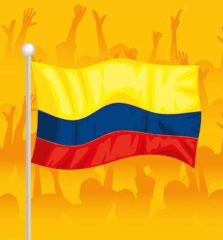Colombiens protestant dans le drapeau