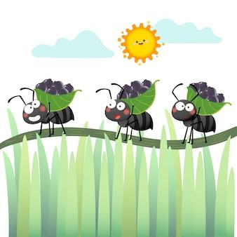 Colonie de dessin animé de fourmis noires portant des baies