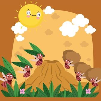 Colonie drôle de fourmis transportant illustration de dessin animé de bogues fourmilière alimentaire