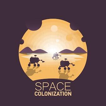 Colonisation de l'espace. les explorateurs explorent un territoire dans le désert.