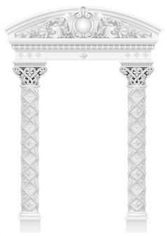 Colonnade blanche antique avec de vieilles colonnes