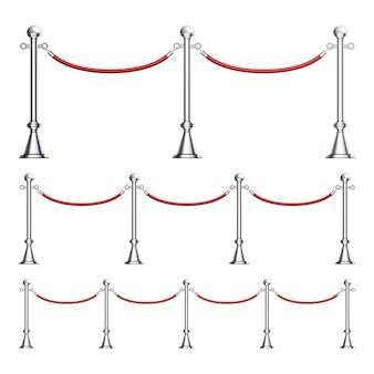 Colonne de barrières en chrome avec ensemble de corde de velours