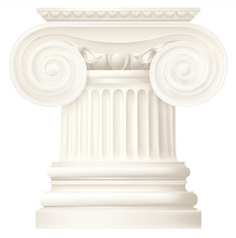 Colonne grecque ionique réaliste blanche