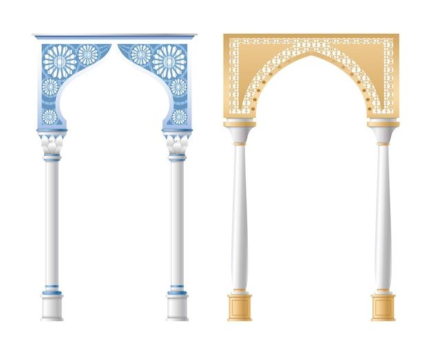 Colonnes architecturales, piliers et arches isolés sur fond blanc.