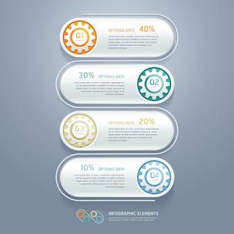 Color gears infographics number options de flux de travail, diagramme, options d'étape, conception de sites web, infographie.