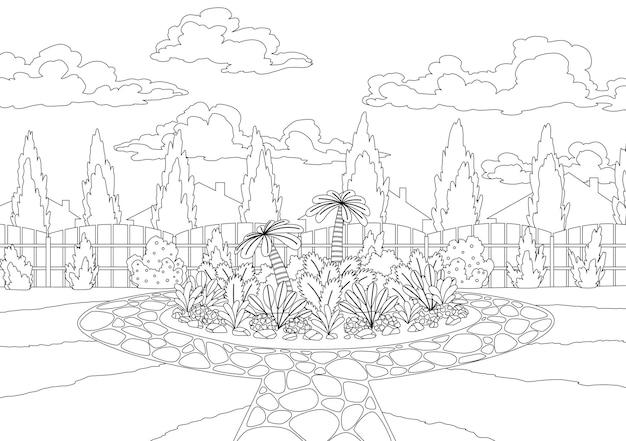 Coloration de la cour avec parterre de fleurs et haie de clôture en bois. plantes d'herbe et de parc, arbres et buissons. croquis d'architecture de conception de jardin