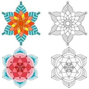 Coloration de style mandala 2 fleurs pour adultes image pour la thérapie relative.