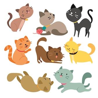 Coloré Chats Collection Vecteur gratuit