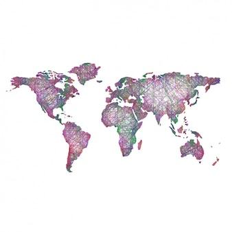 Coloré conception de carte du monde