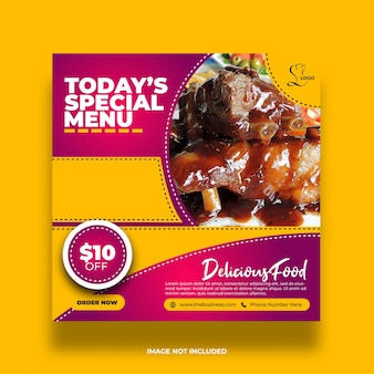 Coloré délicieux offre créatif menu spécial minimal restaurant nourriture délicieuse bannière de médias sociaux