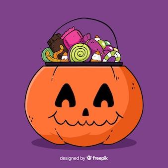 Coloré dessiné à la main halloween candy bag
