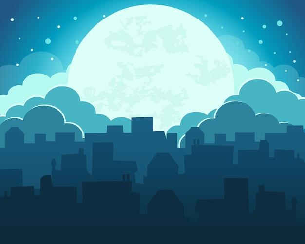 Coloré du ciel de nuit de lune avec fond de ville de minuit
