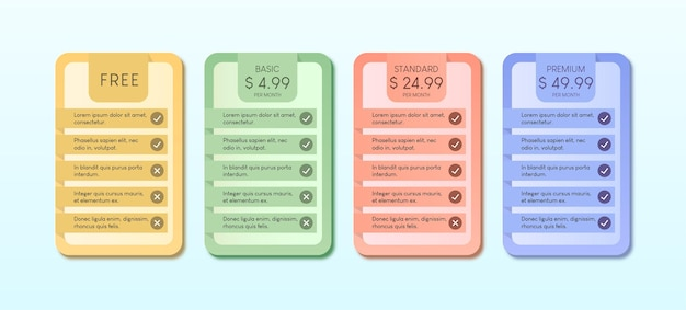 Coloré du tableau des prix avec illustration de quatre options sur fond bleu clair.