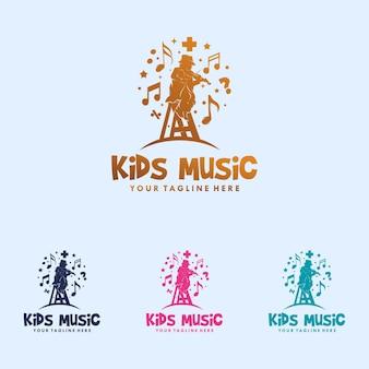 Coloré D'enfants Jouant La Création De Logo De Musique Vecteur Premium