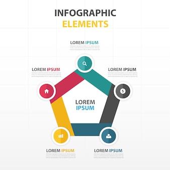 Coloré hexagone abstrait modèle infographique d'affaires