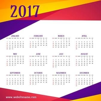 Coloré modèle 2017 calendrier moderne