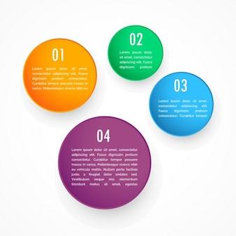 Coloré quatre cercles étapes modèle infographique