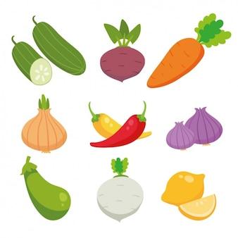Colored Légumes Collection Vecteur gratuit