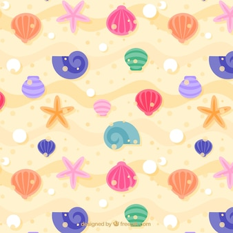 Colored seashells background
