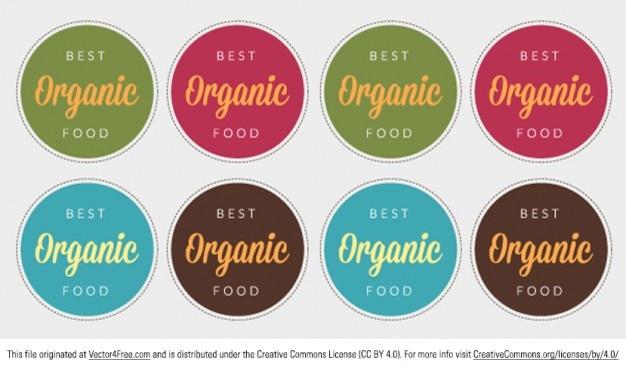 Colorés badges de l'étiquetage des aliments