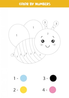 Colorez l'abeille mignonne par des nombres.